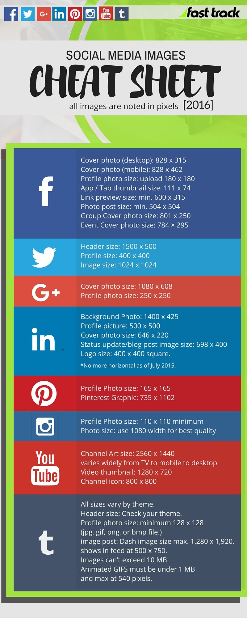 social media images cheat sheet for 2016